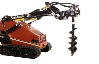 Ditch Witch Mini Skid Steer with Post Hole Digger Attachment
